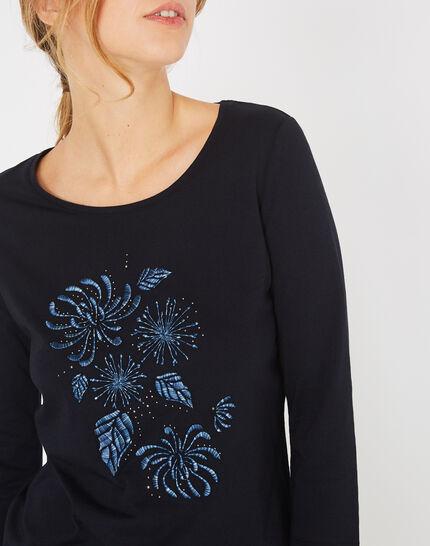 Marineblaues T-Shirt mit Stickerei Bouquet (3) - 1-2-3