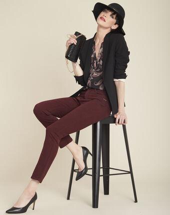 Vendôme 7/8 length slim-cut burgundy cotton satin jeans bordeaux.