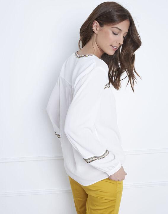 Ecru blouse met etnisch borduurwerk Violette (4) - Maison 123