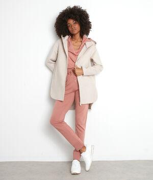 Manteau à capuche long asymétrique beige Liv