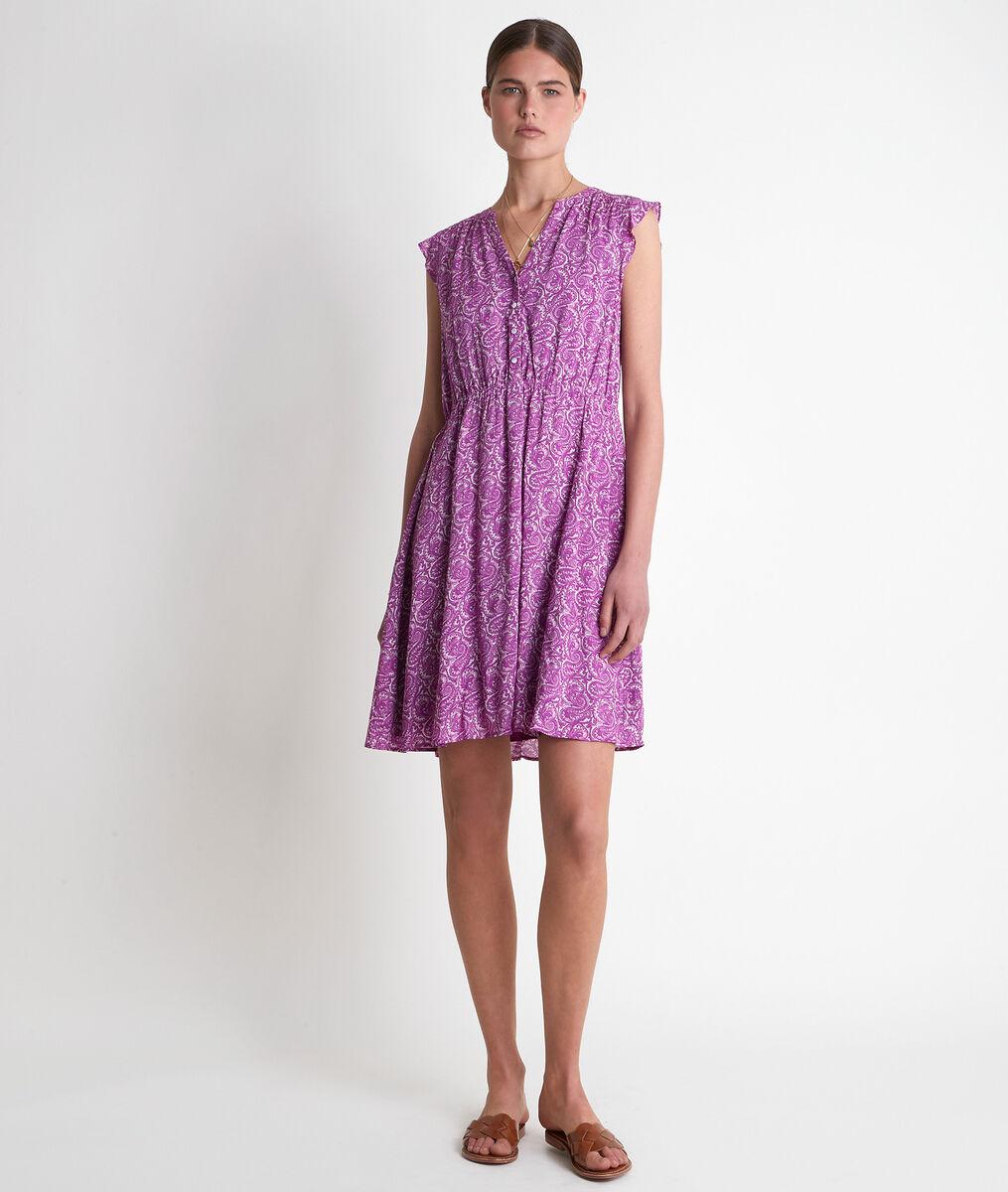 Robe courte imprimée violette Laudine PhotoZ | 1-2-3