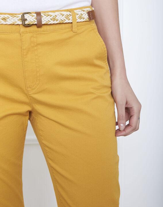 Pantalon jaune chino ceinture fantaisie Francis (3) - Maison 123