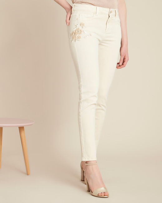 Vendôme cream slim-cut embroidered jeans (2) - 1-2-3