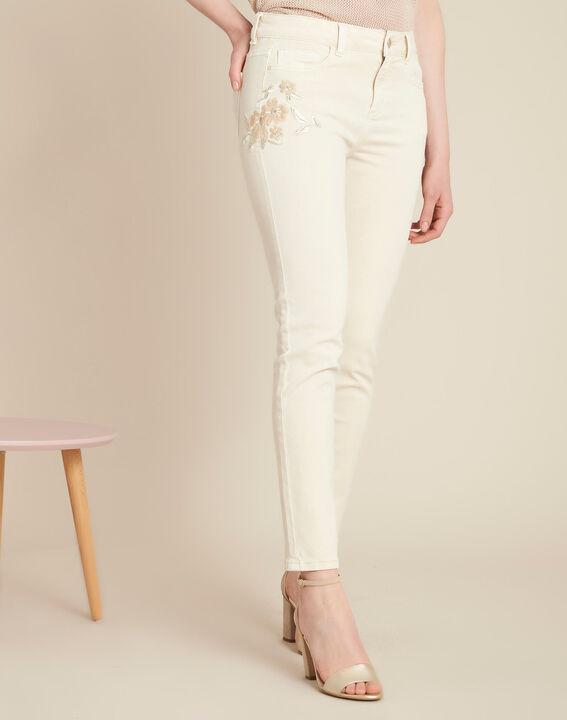 Cremefarbene bestickte Slim Fit-Jeans Vendome (3) - 1-2-3