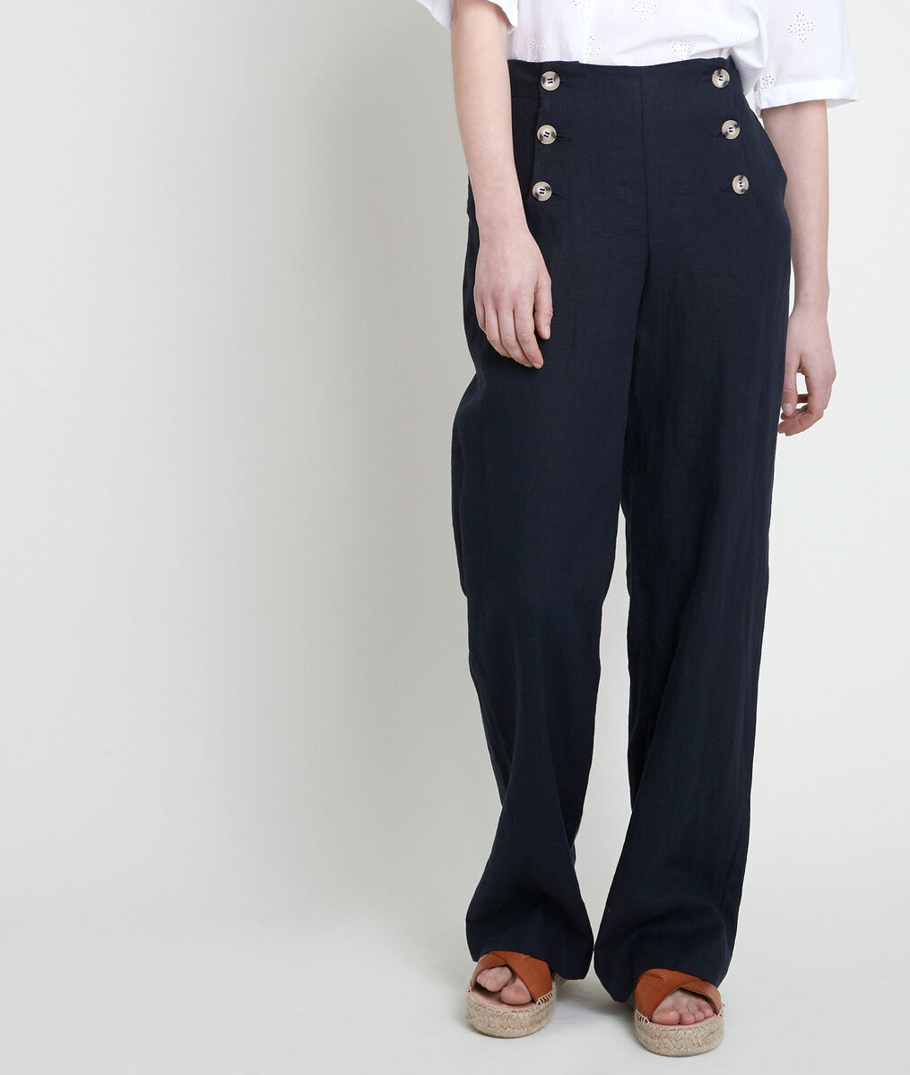 Pantalon en lin certifié à pont marine Iber PhotoZ   1-2-3