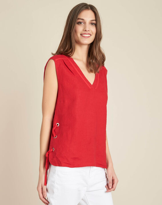 Gally red linen T-shirt with lacing (3) - 1-2-3