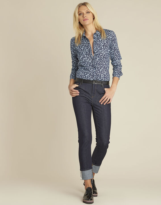 Ravel blue leaf print shirt (2) - 1-2-3