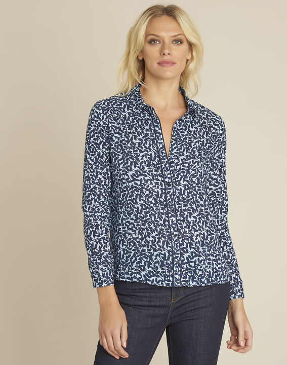 Ravel blue leaf print shirt (1) - Maison 123