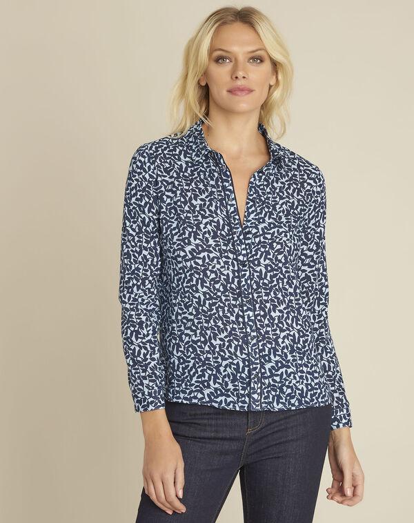Blauw overhemd met bladerenprint Ravel (2) - 37653