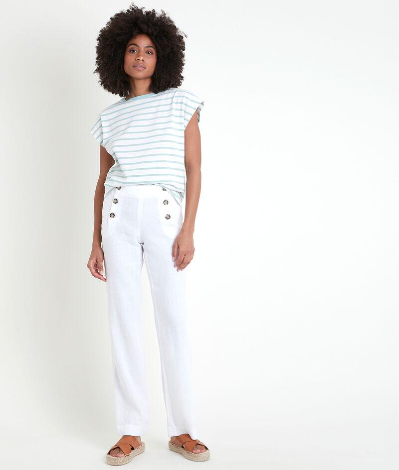 Pantalon en lin certifié à pont Iber PhotoZ | 1-2-3