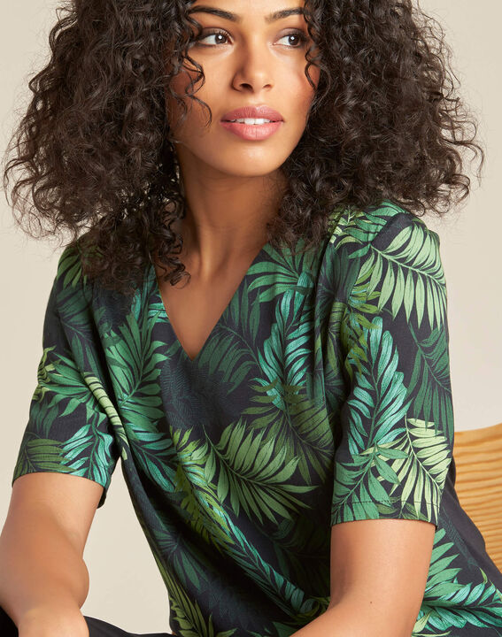 Miledine palm tree print dual-fabric blouse (1) - 1-2-3
