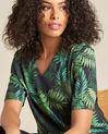 Miledine palm tree print dual-fabric blouse (1) - 1-2-3