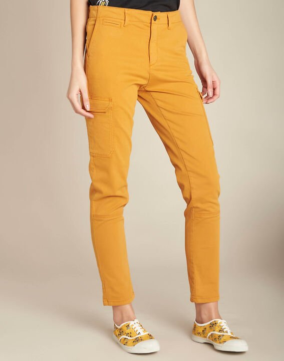 Pantalon jaune moutarde cargo 7/8ème Damien (3) - 1-2-3