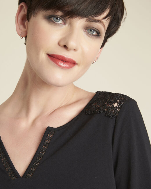 Galia black T-Shirt with lace at the neckline (2) - 1-2-3