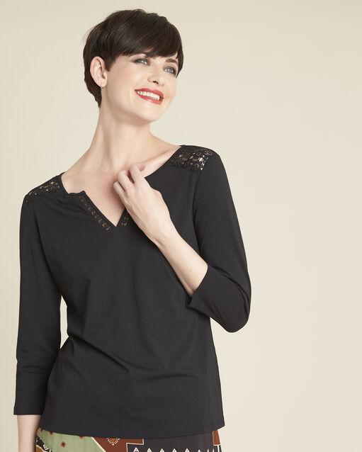 Tee-shirt noir encolure dentelle Galia (1) - 1-2-3