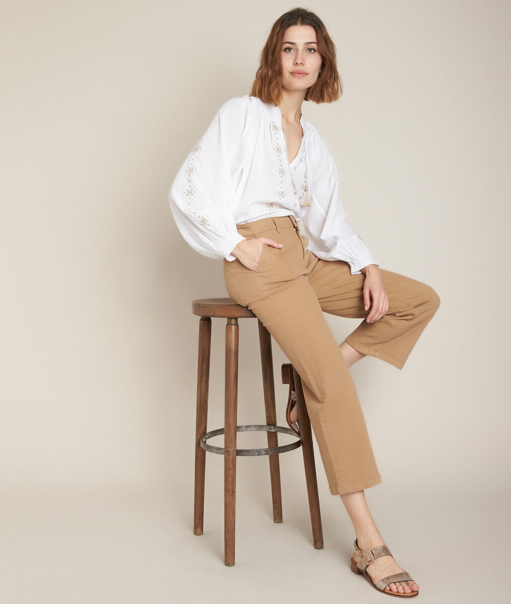 Jean wide leg havane en coton recyclé Anita PhotoZ | 1-2-3