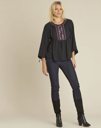 Cerise black blouse with embroidered neckline black.
