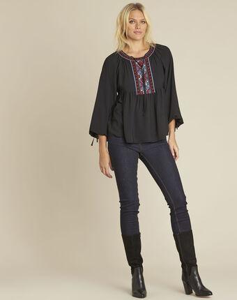 Cerise black blouse with embroidered neckline black.