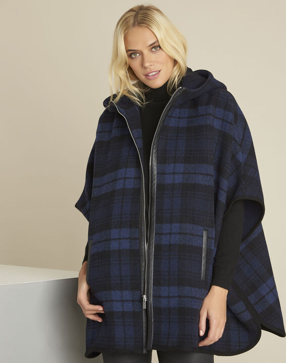 Perrine navy cape with tartan motif PhotoZ | 1-2-3