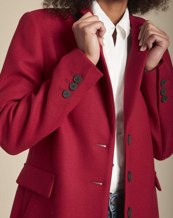 Manteau rouge en laine mélangée Plume (2) - 1-2-3