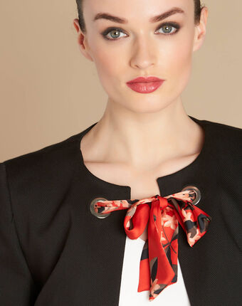Calice short black jacket with ribbon tie black.