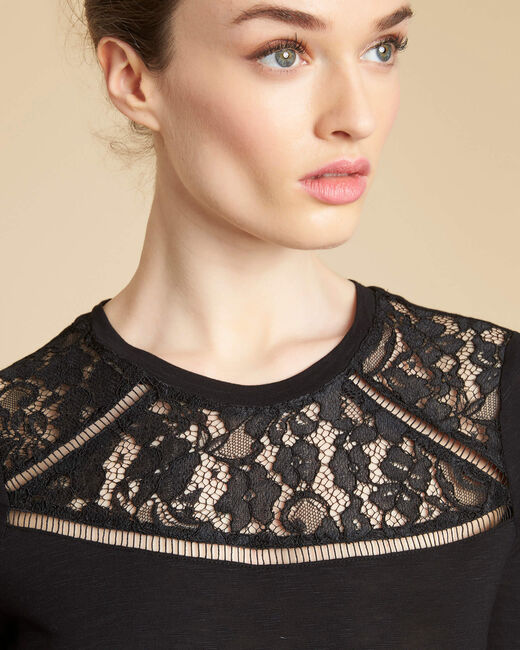 Tee-shirt noir encolure dentelle Envy (1) - 1-2-3