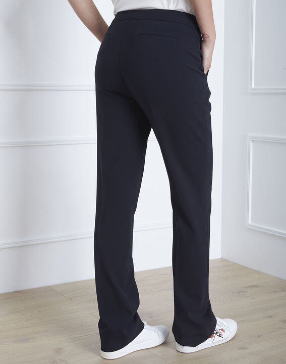 Hugo straight-cut navy microfibre trousers with buttoned belt (4) - 1-2-3