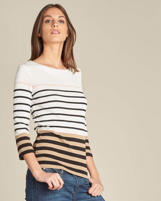Ecrufarbenes Streifen-T-Shirt Esayat (1) - 1-2-3