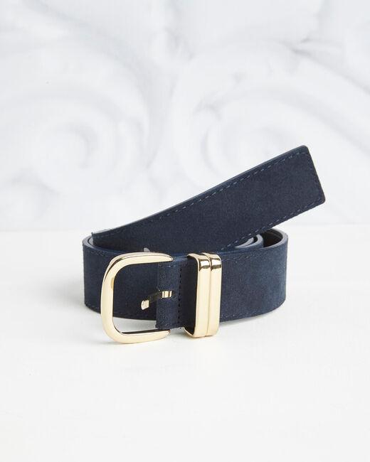 Rime velvet-effect wide navy leather belt (1) - 1-2-3