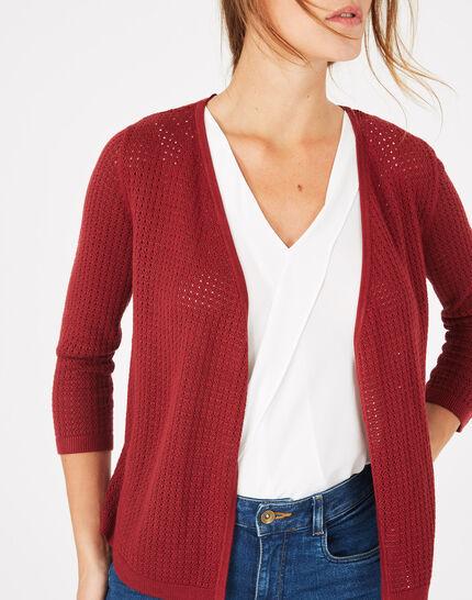 Palissade burgundy cardigan in an openwork knit (2) - 1-2-3