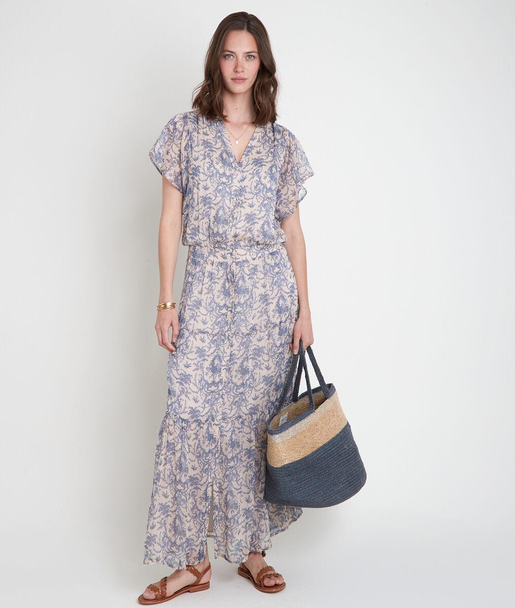 Robe longue imprimée bleu et blanc Laiza PhotoZ | 1-2-3