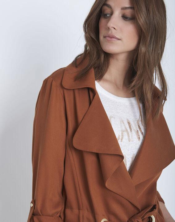 Fließende, mahagonifarbene Jacke mit Ösen-Details Felicita (3) - Maison 123