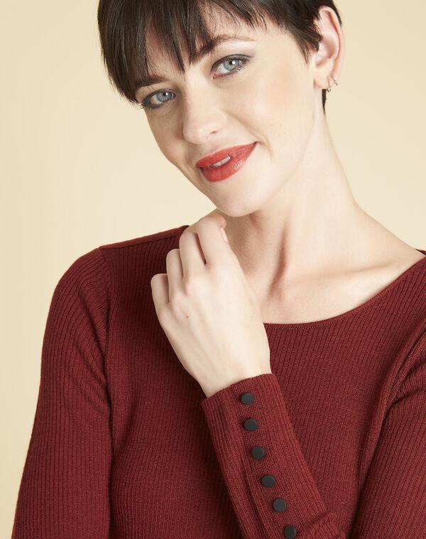 Mahoniebruine trui van dun tricot met knopen aan de mouwen Bassus (2) - 37653