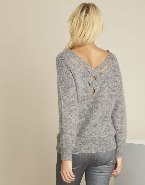 Baloon grey wool mohair pullover with V-neck (4) - 1-2-3