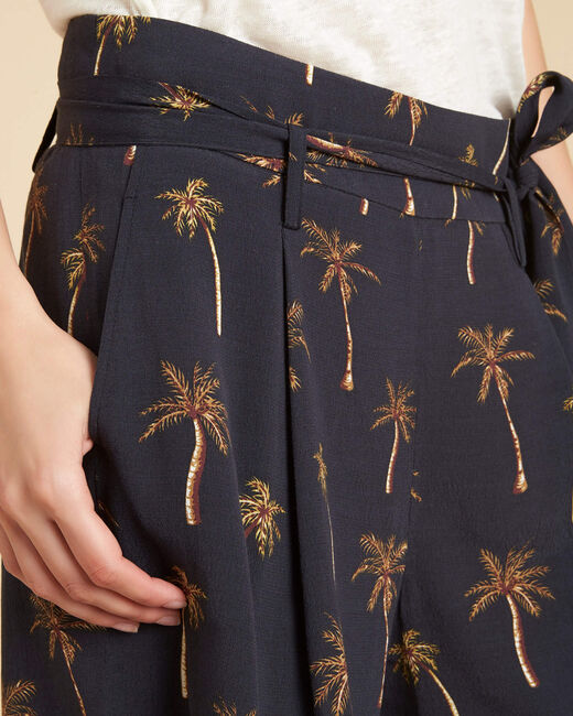 Sun black shorts with palm print and tie (2) - 1-2-3