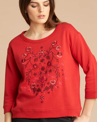 Eldorado red embroidered sweatshirt with 3/4 length sleeves red.
