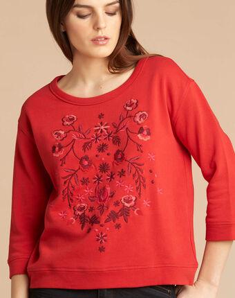Rotes besticktes 3/4-arm sweatshirt eldorado rot.