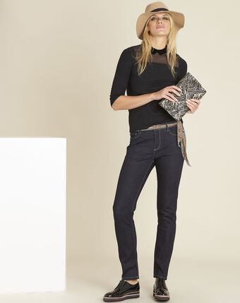 Lange slim-fit raw denim-jeans vendome dunkles indigoblau.