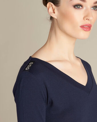 Ecume navy blue t-shirt with eyelet detailing on the shoulders navy.