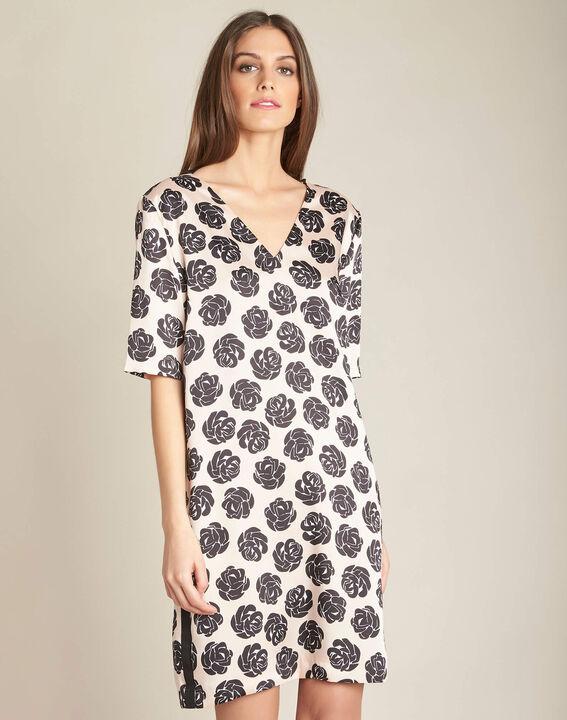 Nudefarbenes Kleid mit Blumenprint Ideal (3) - 1-2-3