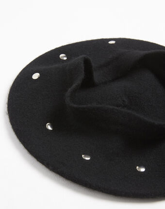 Zwarte baret met studs van wol ulali noir.