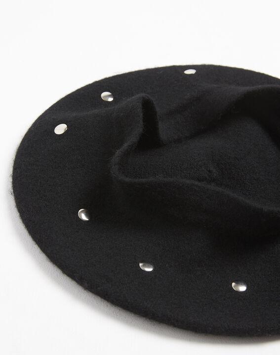 Ulali studded black wool beret (2) - 1-2-3