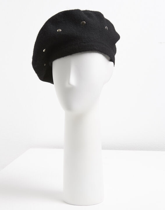 Ulali studded black wool beret PhotoZ | 1-2-3