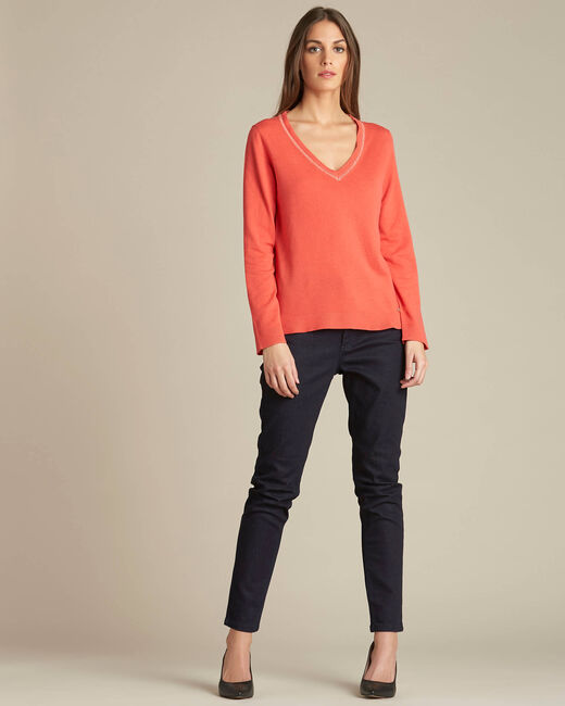 Newyork coral sweater in wool and silk with shiny neckline (1) - 1-2-3