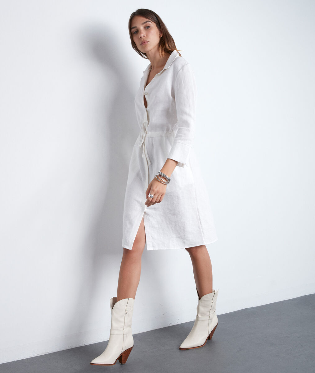 Robe chemise écrue en lin certifié Luna PhotoZ | 1-2-3