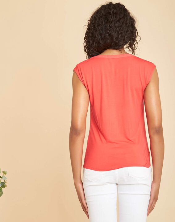 Bianca coral dual-fabric T-shirt with short sleeves and fishnet neckline (4) - 1-2-3