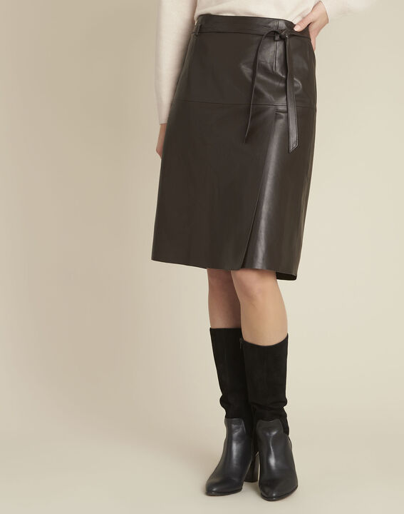 Long brown leather skirt (1) - 1-2-3