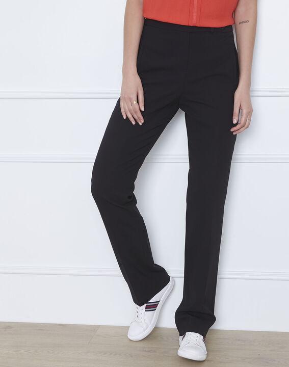 Pantalon noir droit en microfibre à ceinture boutonnée Hugo (1) - Maison 123