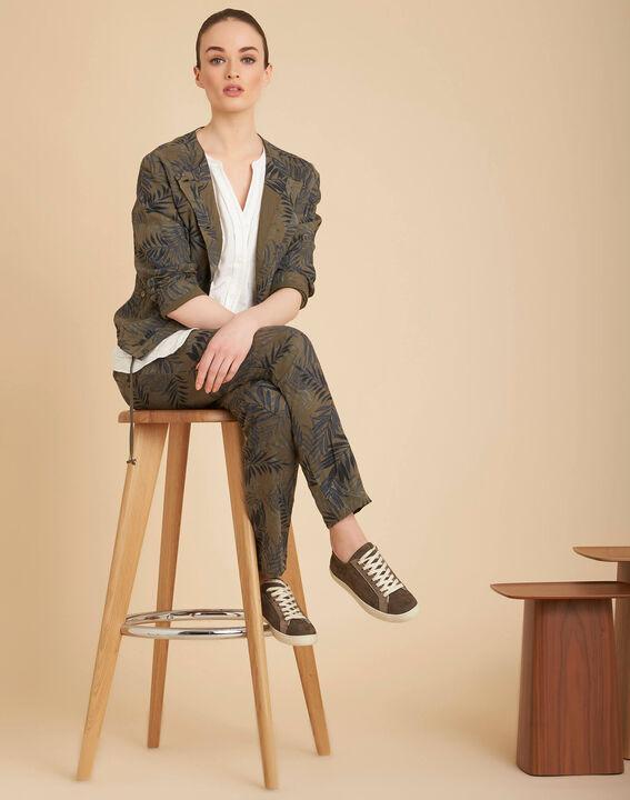 Kurze khakifarbene Jacke mit Palmenprint Fibie (2) - 1-2-3