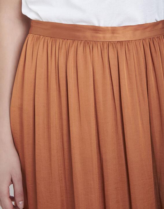 Jupe marron longue plissée effet satin Sissi (3) - Maison 123